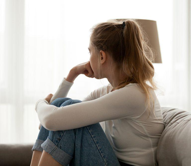 teen girl looking away
