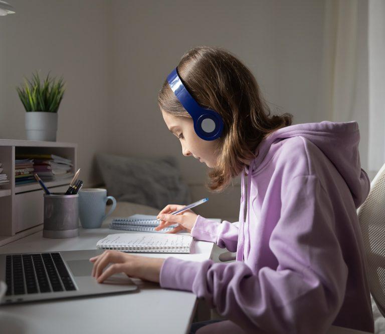 teen girl studying
